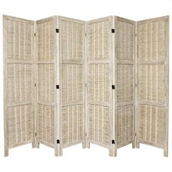 Oriental Bamboo Matchstick 6 Panel Room Divider in White
