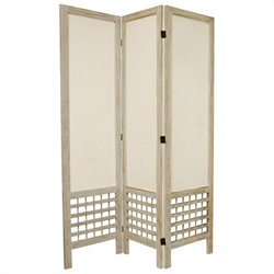 Oriental Furniture Tall Open Lattice 3 Panel Room Divider in White