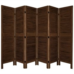 Oriental Furniture Tall Classic Venetian 6 Panel Room Divider in Brown