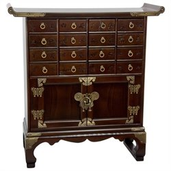Oriental Korean 16 Drawer Medicine Accent Chest in Rosewood