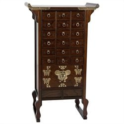 Oriental Furniture Korean Style 18 Drawer Herbal Medicine Chest in Rosewood
