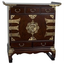 Oriental Korean Antique Style 5 Drawer End Table Cabinet in Rosewood
