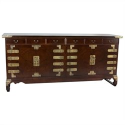 Oriental Korean Antique Style Double Cabinet Credenza in Rosewood