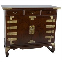 Oriental Furniture Korean Antique Style Small Credenza in Rosewood
