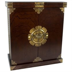 Oriental Furniture Korean Antique Style Liquor Cabinet in Rosewood