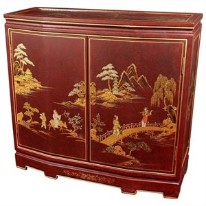 Oriental Furniture Japanese Slant Front Accent Chest in Red