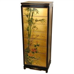 Oriental Furniture 8 Drawer Leaf Accent Chest in Gold