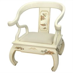 Oriental Furniture Landscape Ming Chair in White