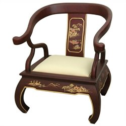 Oriental Furniture Landscape Ming Chair in Red