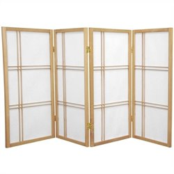 Oriental Furniture 3' Tall Shoji Screen with 4 Panel in Natural