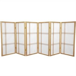 Oriental Furniture 3' Tall Shoji Screen with 6 Panel in Natural
