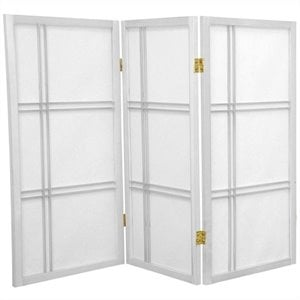 Oriental Furniture 3' Tall Shoji Screen with 3 Panel in White