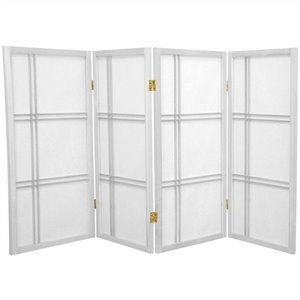 Oriental Furniture 3' Tall Shoji Screen with 4 Panel in White