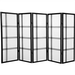 Oriental Furniture 4' Tall Shoji Screen with 5 Panel in Black