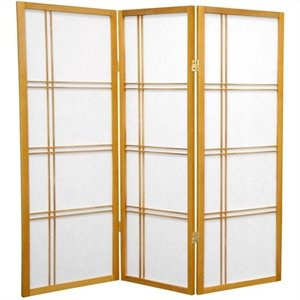 Oriental Furniture 4' Tall Shoji Screen with 3 Panel in Honey