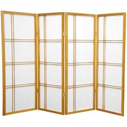 Oriental Furniture 4' Tall Shoji Screen with 4 Panel in Honey