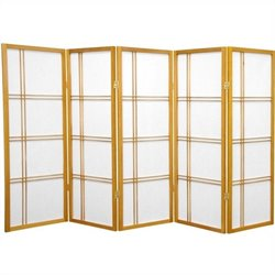 Oriental Furniture 4' Tall Shoji Screen with 5 Panel in Honey