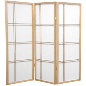 Oriental Furniture 4' Tall Shoji Screen with 3 Panel in Natural