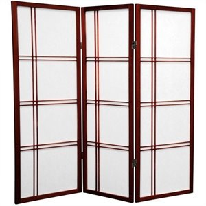 Oriental Furniture 4' Tall Shoji Screen with 3 Panel in Rosewood