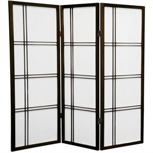 Oriental Furniture 4' Tall Shoji Screen with 3 Panel in Walnut