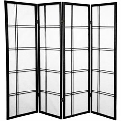 Oriental Furniture 5' Tall Shoji Screen with 4 Panel in Black