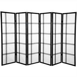 Oriental Furniture 5' Tall Shoji Screen with 6 Panel in Black