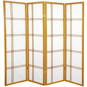 Oriental Furniture 5' Tall Shoji Screen with 4 Panel in Honey