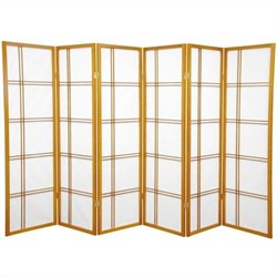 Oriental Furniture 5' Tall Shoji Screen with 6 Panel in Honey