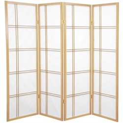 Oriental Furniture 5' Tall Shoji Screen with 4 Panel in Natural