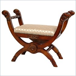 Oriental Furniture Queen Mary Antechamber Bench in Beige Tile