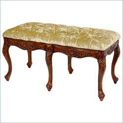 Oriental Furniture Queen Anne Parlor Bench in Gold