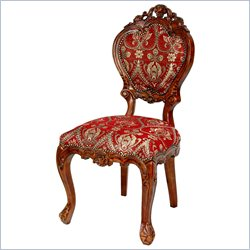 Oriental Furniture Queen Victoria Side Chair in Red