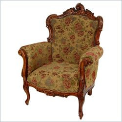 Oriental Furniture Queen Victoria Arm Chair in Brown