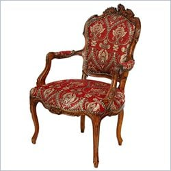 Oriental Furniture Queen Elizabeth Arm Chair in Red