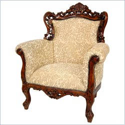 Oriental Furniture Queen Victoria Wing Chair in Beige