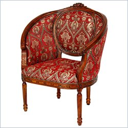 Oriental Furniture Queen Anne Wing Chair in Red