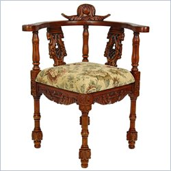 Oriental Furniture Queen Anne Corner Chair in Beige