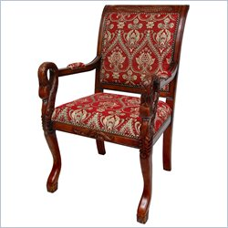 Oriental Furniture Queen Anne Sitting Room Chair in Red