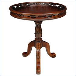 Oriental Furniture Queen Victoria Round Occasional Table in Walnut