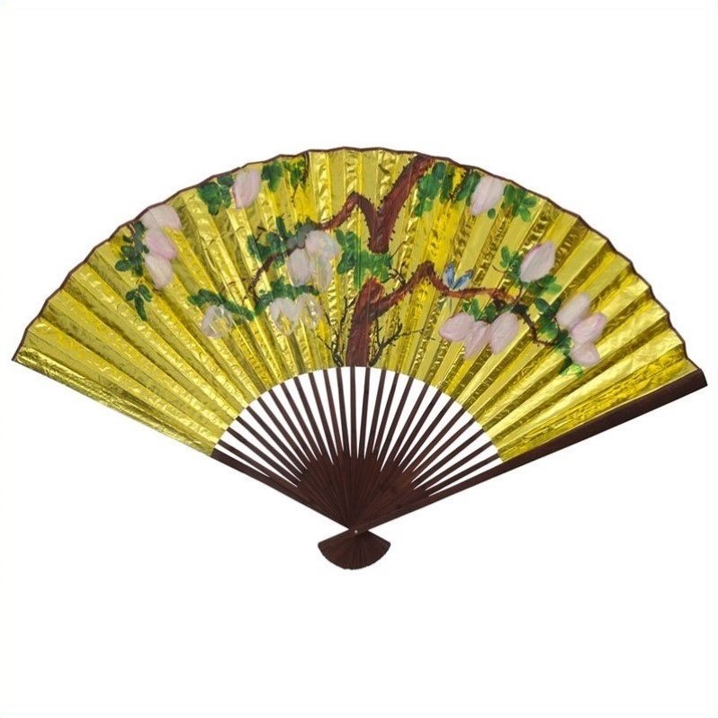 Oriental Furniture Fan Wall Decor In Gold Fan04 Xx