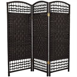 Oriental Fiber Weave Room Divider with 3 Panel in Black