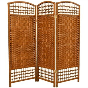Oriental Fiber Weave Room Divider with 3 Panel in Dark Beige