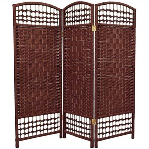 Oriental Fiber Weave Room Divider with 3 Panel in Dark Red