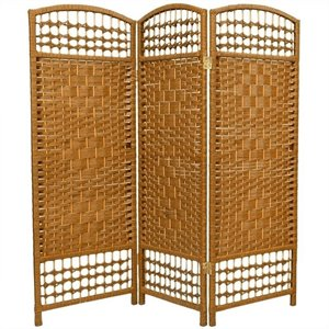 Oriental Fiber Weave Room Divider with 3 Panel in Light Beige