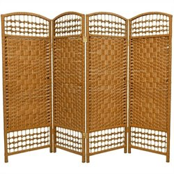 Oriental Fiber Weave Room Divider with 4 Panel in Light Beige