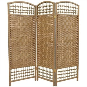 Oriental Fiber Weave Room Divider with 3 Panel in Natural