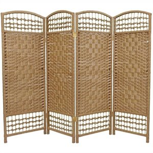 Oriental Fiber Weave Room Divider with 4 Panel in Natural