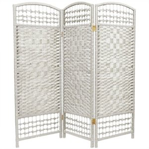 Oriental Fiber Weave Room Divider with 3 Panel in White