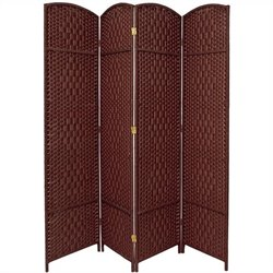 Oriental Diamond Weave Room Divider with 4 Panel in Dark Red