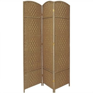 Oriental Diamond Weave Room Divider with 3 Panel in Natural